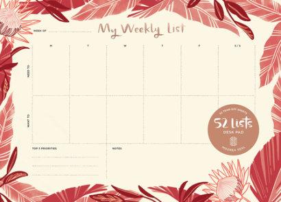"52 Lists ""My Weekly List"" Desk Pad"
