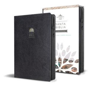 Santa Biblia RVR 1960 - Tamaño manual, letra grande, cuero de imitación, color negro, con cremallera / Spanish Holy Bible RVR 1960, Handy Size, Large Print