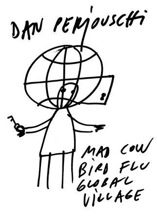 Mad Cow, Bird Flu, Global Village by Dan Perjovschi